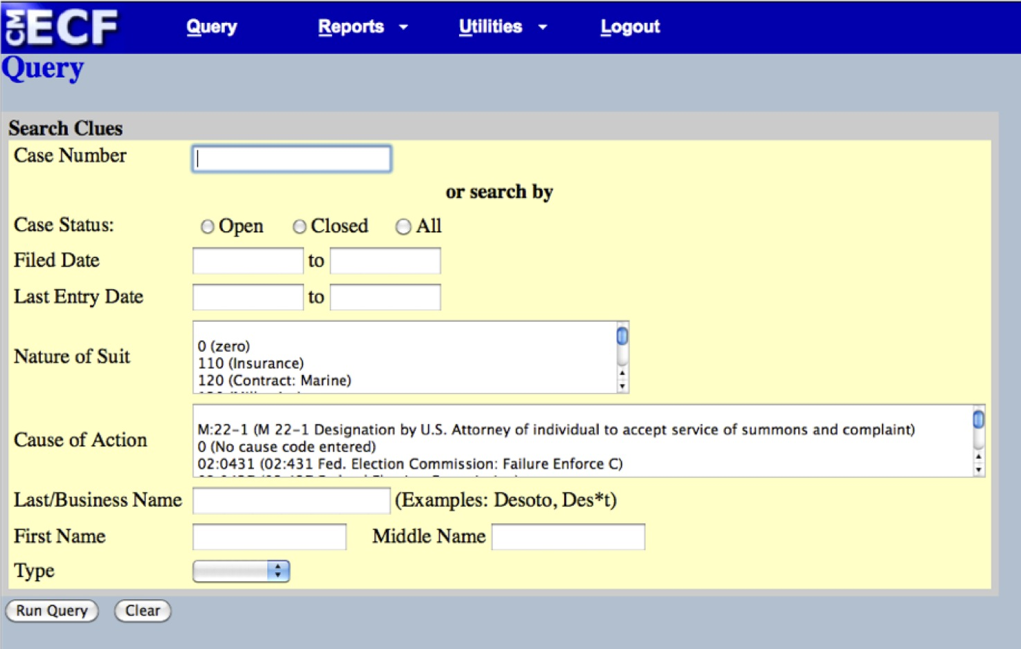 PACER search interface
