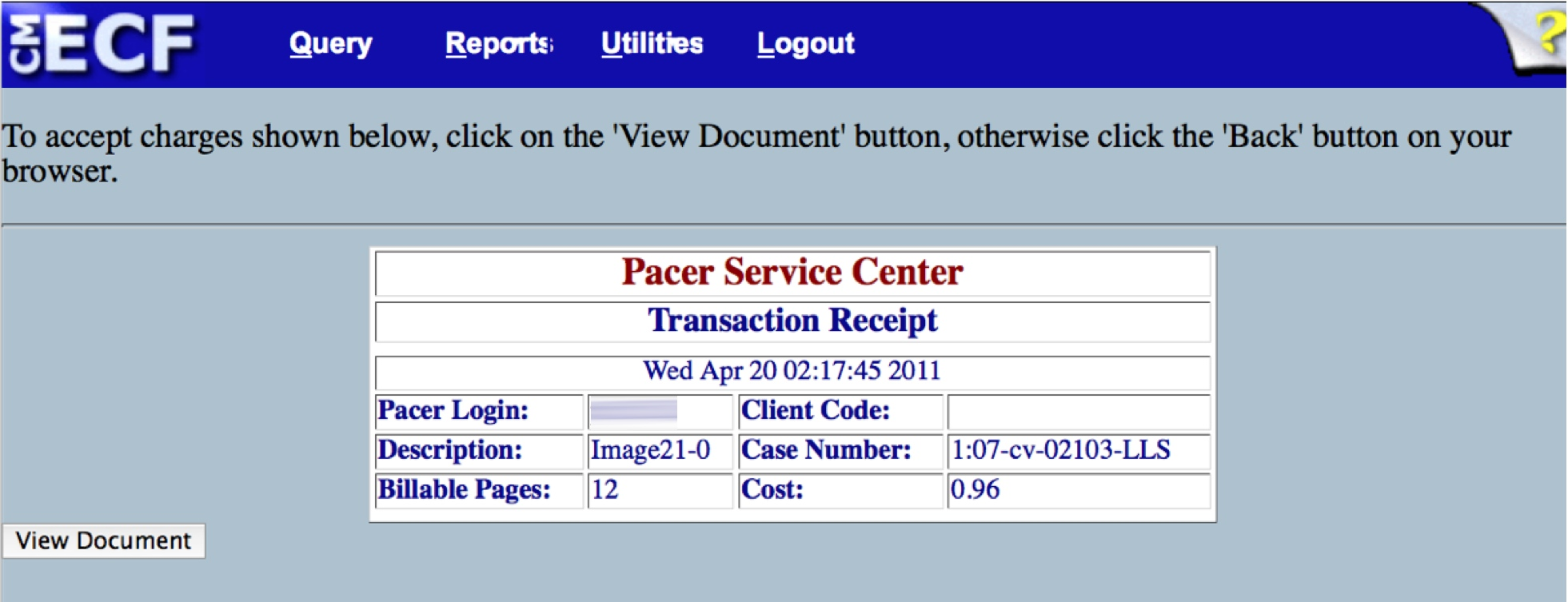PACER purchase receipt